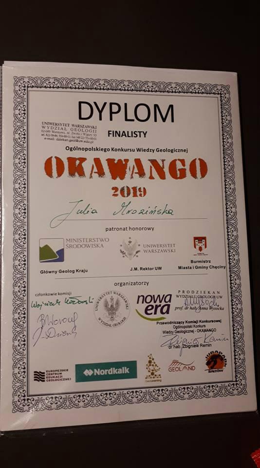 Nasza Uczennica finalistką w konkursie geologicznym !!!